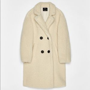 Long faux shearling double-breasted coat in cream